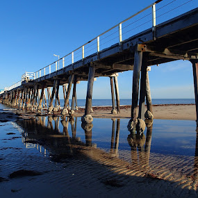 Jetty reflection by Pamela Howard - Buildings & Architecture Bridges & Suspended Structures ( water, sand, reflection, blue,  )