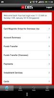 Screenshot of DBS mBanking