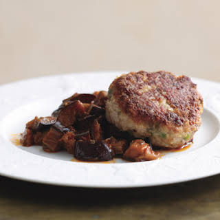 Veal Cakes on Silky Eggplant.