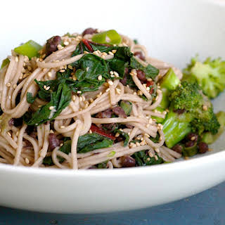 Miso Soba Stir Fry With Greens And Beans.