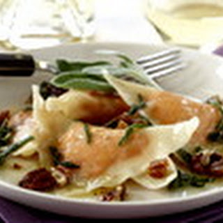 Sweet Potato Ravioli with Sage Butter and Pecans.
