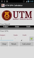 Screenshot of UTM GPA Calculator
