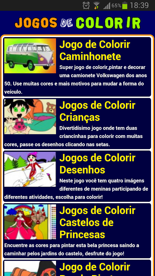 Jogos de colorir - screenshot