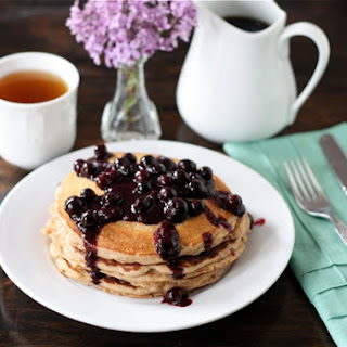 Whole Wheat Kefir Pancakes with Blueberry Sauce.