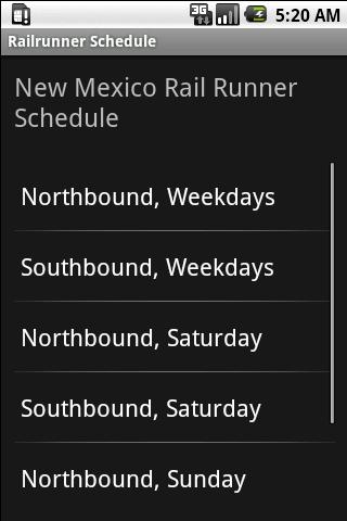 Railrunner Schedule - screenshot
