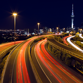 Light trails to and fro Auckland Sky Tower by Anupam Hatui - City,  Street & Park  Night ( skycity, long exposure, night, light, , city at night, street at night, park at night, nightlife, night life, nighttime in the city )