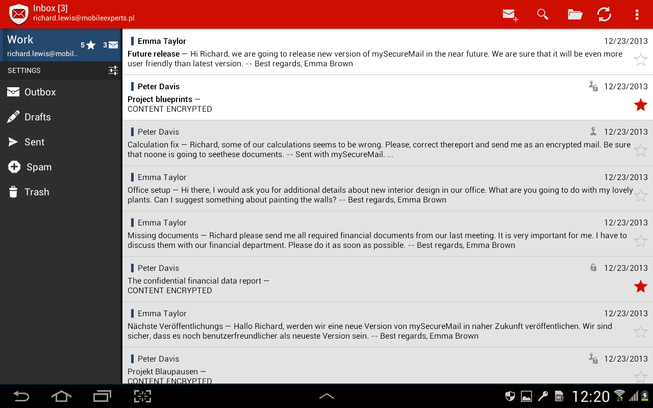 my Secure Mail - email client - screenshot