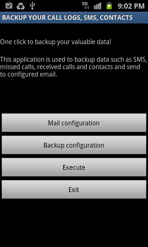 Backup Call logs,SMS & Contact - screenshot