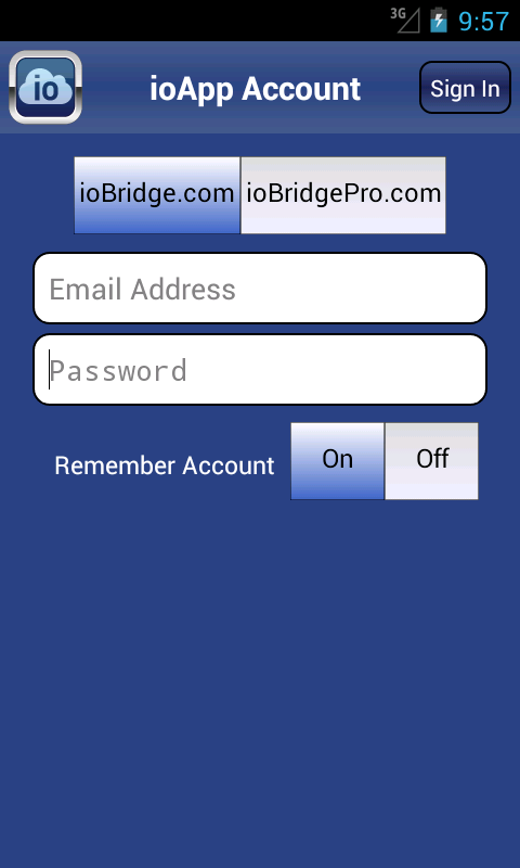 ioApp for ioBridge - screenshot