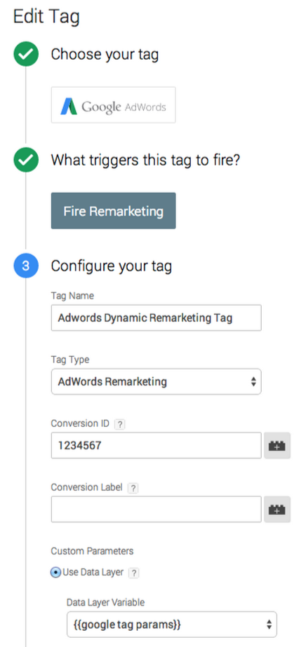 Create adwords dynamic remarketing tag