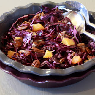 Red Cabbage Salad with Dry fruit and Orange.