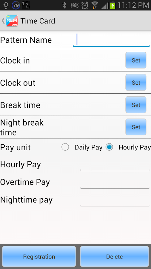 Time card - screenshot