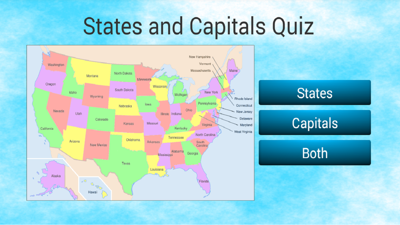 US States And Capitals Quiz Android Apps On Google Play - Map of united states quiz game