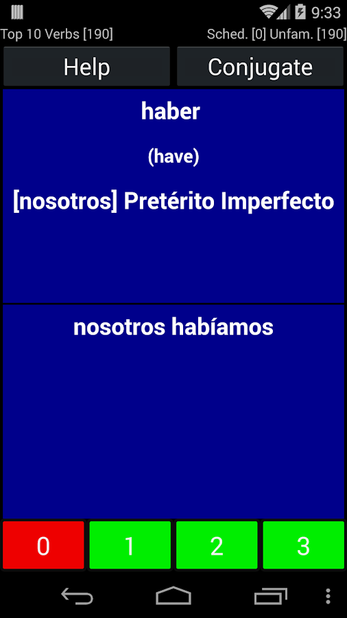 Spanish Verb Trainer - screenshot
