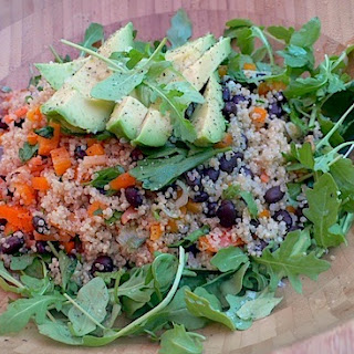 Quinoa Avocado Salad with Black Beans Over Arugula