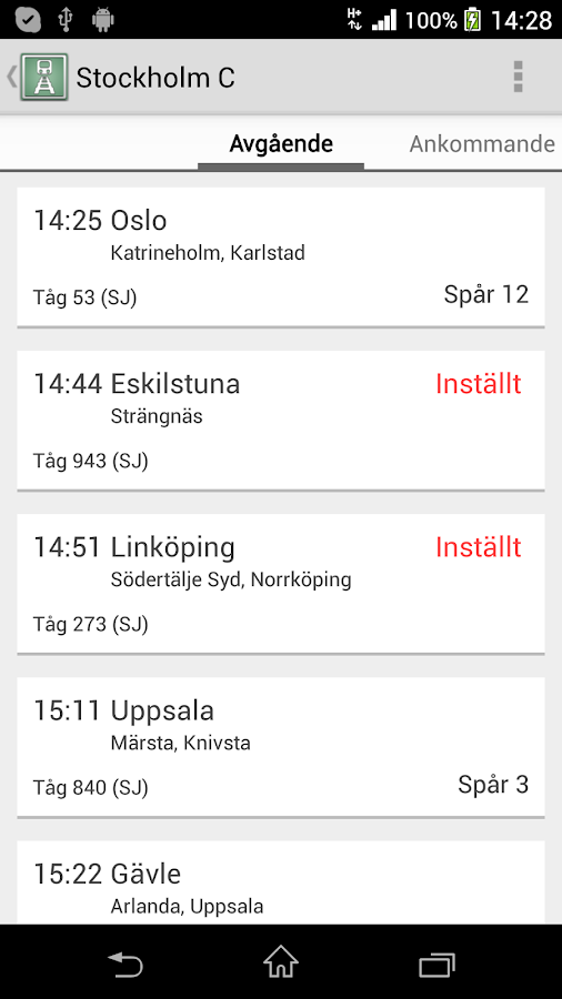 Train Info Sweden - screenshot