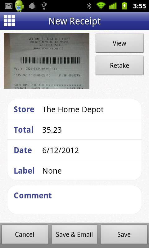 Digital Receipts- screenshot