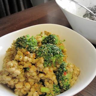 Broccoli and Barley Salad with Avocado and Sun-dried Tomatoes.