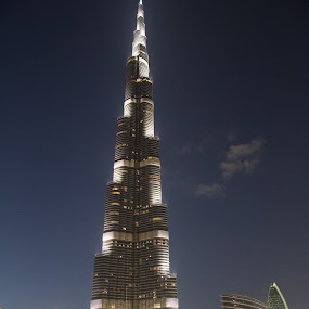 tallest free standing structer by Anthony Schwab - Buildings & Architecture Architectural Detail ( lights, dubai, travel, burj khalifa, dusk, middle east )