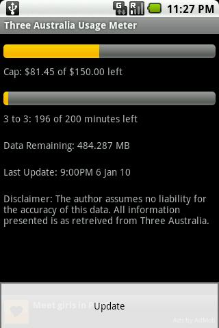 Three Australia Usage Meter - screenshot