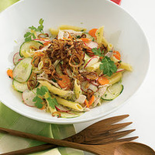 Chicken Pasta Salad with Fried Shallots.