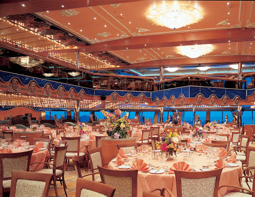 Carnival-Victory-Pacific-Restaurant - When at sea, the two-level Pacific Restaurant, one of Carnival Victory's main dining halls, serves breakfast, lunch and dinner.