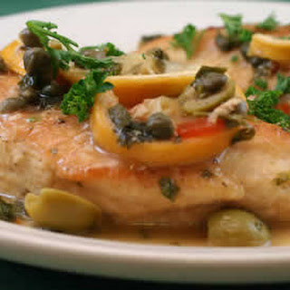 Chicken with Roasted Lemons, Green Olives, and Capers.