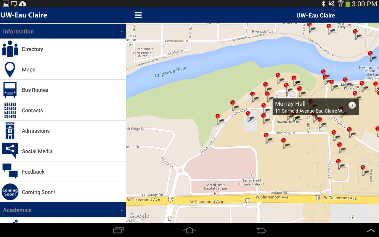 UW-Eau Claire Mobile - screenshot