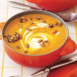 Curried Pumpkin Soup with Spicy Pumpkin Seeds.