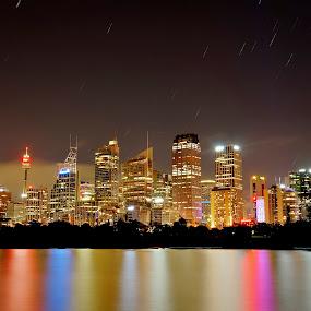 Sydney Skyline at night by Michael Lucchese - City,  Street & Park  Night ( australia, night, long exposure, cityscape, photography, sydney,  )