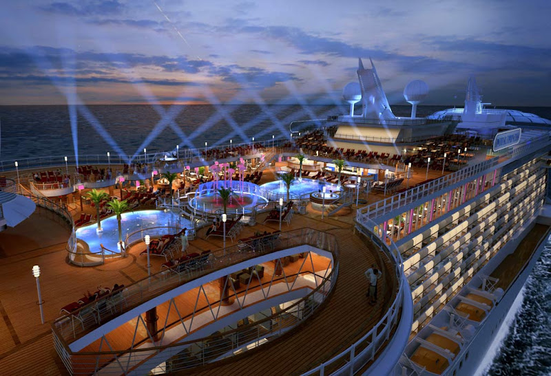 The brilliantly lit deck of Royal Princess at night.