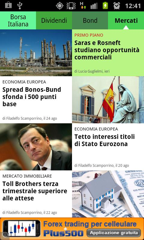 News finanza e borsa italiana- screenshot