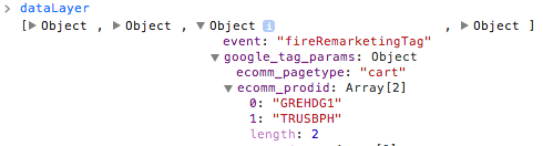 dataLayer in Chrome console showing object properties