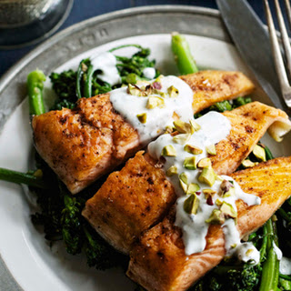 Pan-Fried Arctic Char with Garam Masala, Broccolini and Yogurt Sauce