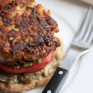 White Bean Burgers with Pesto, Tomato, and Roasted Eggplant Spread.