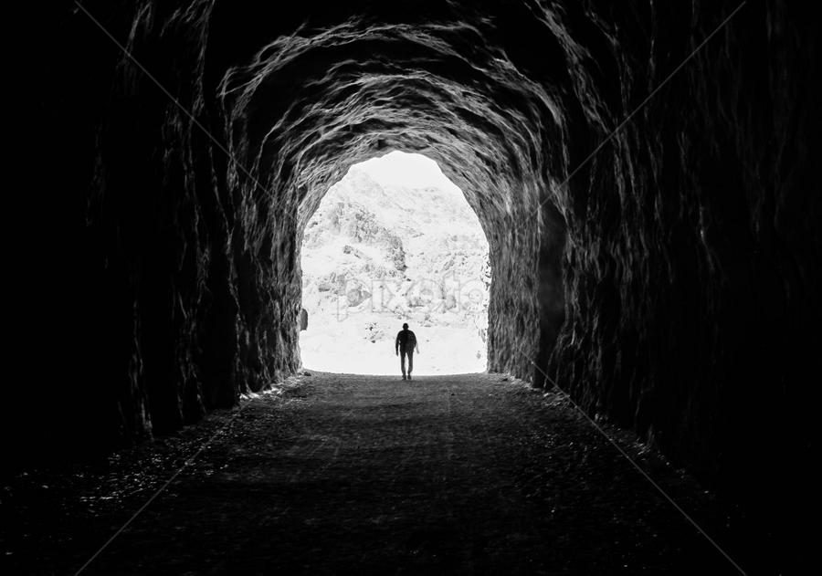 Reaching the Light by Juan De Leon - Black & White Landscapes ( mead, silhouette, peace, train, lake, destiny, cave, darkness, vegas, las, tunnel )