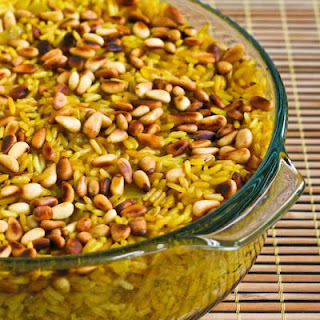 Baked Lemon-Curry Rice with Onions and Pine Nuts.