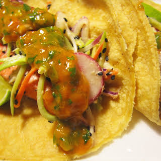 Salmon Tacos with Miso Broccoli Slaw and Apricot Salsa.