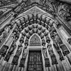 Cologne Cathedral, Germany by Joseph Goh Meng Huat - Buildings & Architecture Architectural Detail ( canon, cologne, building, black and white, exterior, koln, germany, joseph goh meng huat, travel, architecture, canon 5dmiii )