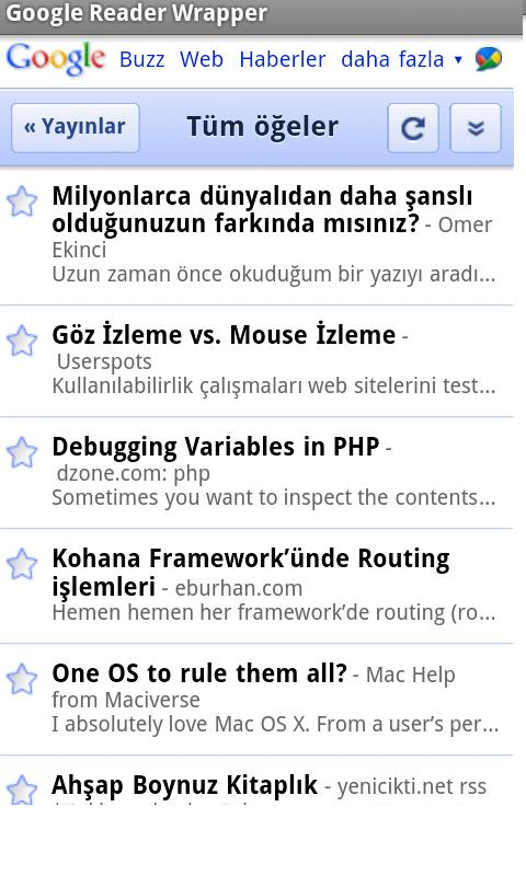 Google Reader Mobile Wrapper - screenshot