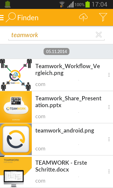 TEAMWORK für Android- screenshot