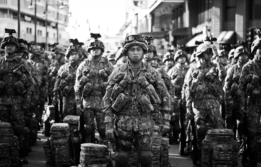 Soldiers getting ready for battle by Mohd Safwan - Black & White Street & Candid ( d80, street, bsb, 50mm, brunei, nikon )