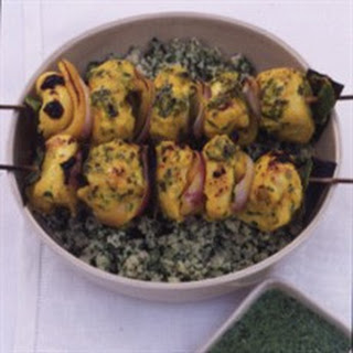 Marinated Chicken Brochettes with Green Couscous