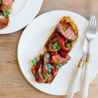 Open-Face Sausage and Peppers Sandwiches.