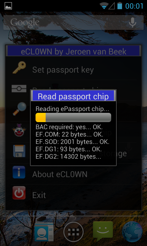 eCL0WN - an ePassport utility - screenshot