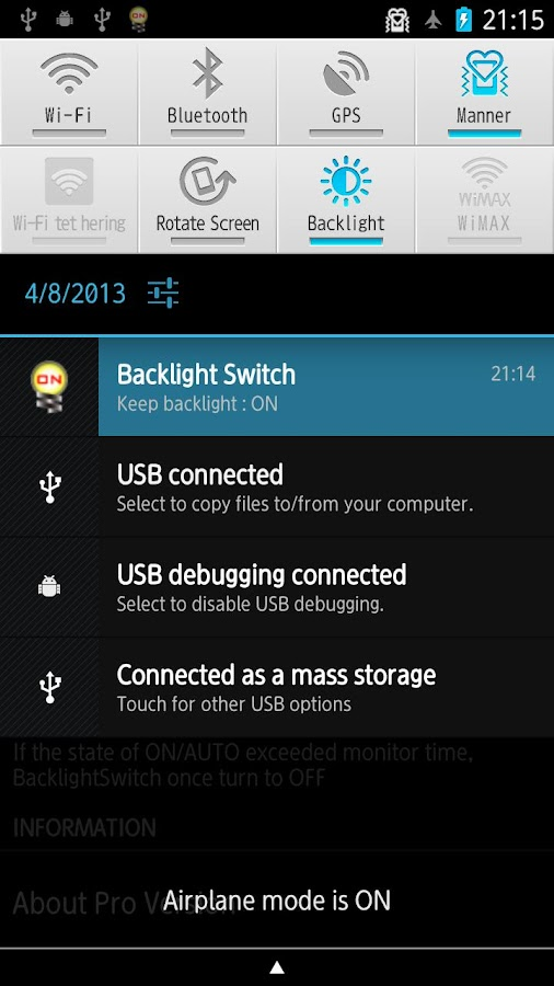Backlight Switch Pro - screenshot
