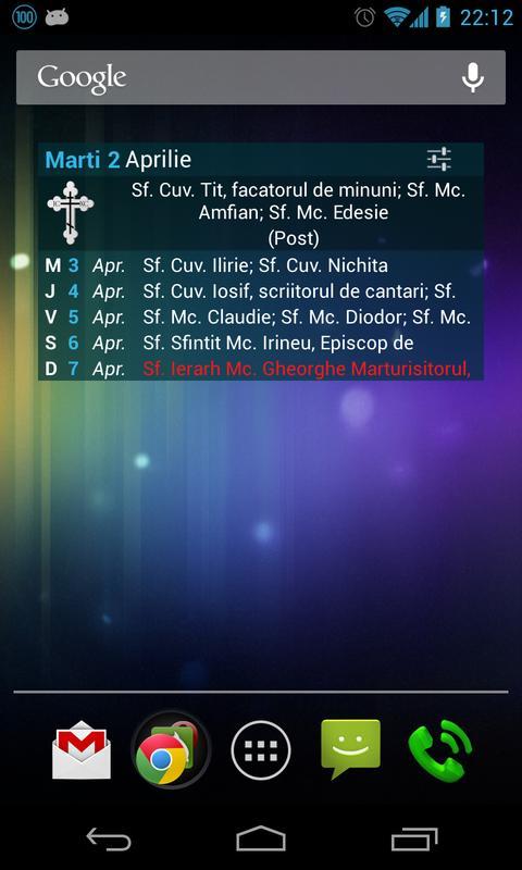 Calendar Ortodox cu Widget - screenshot