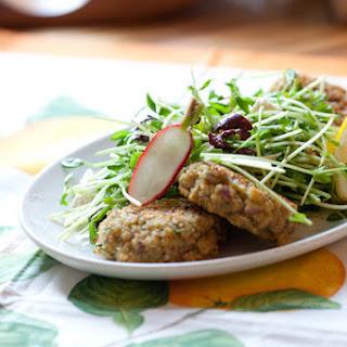 "Baked Quinoa ""Falafels"" with Radish & Pea Shoot Salad"