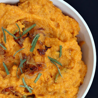 Mashed Sweet Potatoes with Caramelized Onions, Brie and Sage.