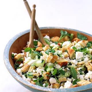Pita-Bread Salad with Cucumber, Mint, and Feta.